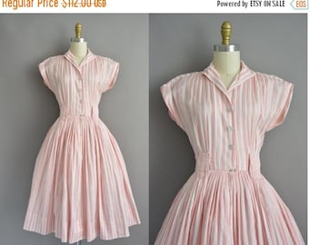 20% OFF SHOP SALE... 50s vintage pink soft cotton stripe print dress / vintage 1950s dress