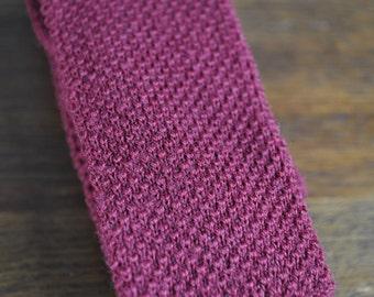 Vintage wine red wool knit tie square end 1980s