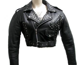 Studded Motorcycle Jacket Vintage Womens Route 66 Cropped Black Leather Biker Jkt with Nail Head Studs Wms Size Medium, Studded Leather Jkt