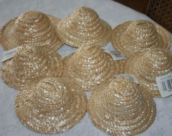 Eight 8 Craft Crafting Small Straw Woven Hats NEW