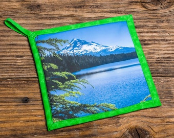 Mt Hood from Lost Lake Photo Pot Holder, Hot Pad, Handmade