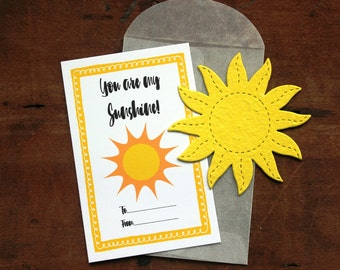 Sun Valentines- SET OF 8 - includes color printed card, seed paper, and glassine envelope- choose from 16 seed paper colors