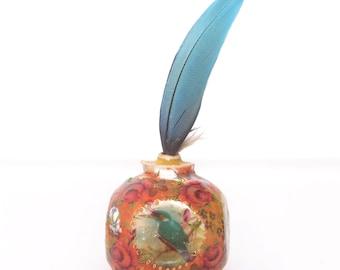 Handmade Pottery Miniature, Wheel Thrown Bottle, Bird Vase, Little Phial, Miniature Pottery, Dollhouse Vase