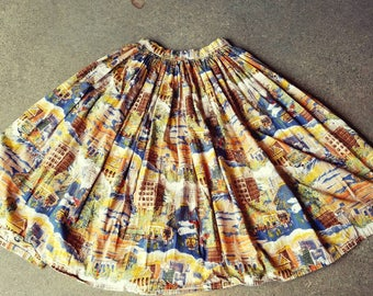RESERVED Vintage 60s 1960s full circle novelty print skirt cityscape cotton muted mid century Spring Summer