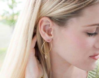 Golden Crystal Hoop Earrings - gold filled hoops swarovski crystal bead drops modern minimal sweet - simple everyday jewelry - adenandclaire