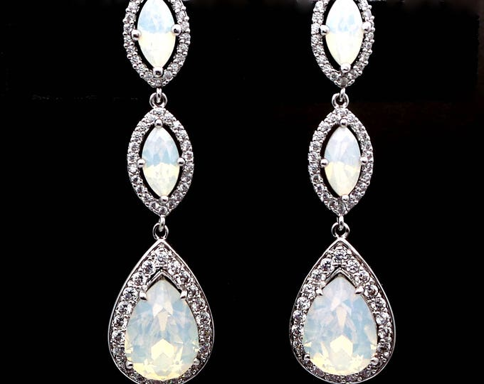 wedding jewelry bridal bridesmaid gift prom party marquise teardrop cubic zirconia swarovski white opal crystal fancy rhinestone earrings