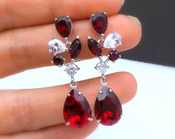 bridal jewelry bridesmaid gift wedding prom pageant party swarovski multi shape siam red crystal fancy drop two tone teardrop post earrings