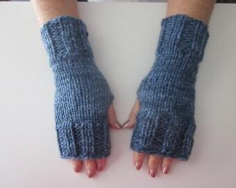 Hand Knit Bulky Fingerless Mittens/Texting Gloves - Denim Medium Weight Mittens