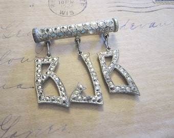 vintage marcasite initial brooch - BJB dangle initial charms on bar pin - marcasites in pot metal