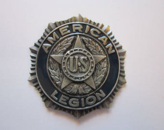 vintage American Legion metal found object - belt buckle insert? - as is