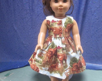 horse dress will fit 18 inch doll such as American Girl, sewn for charity