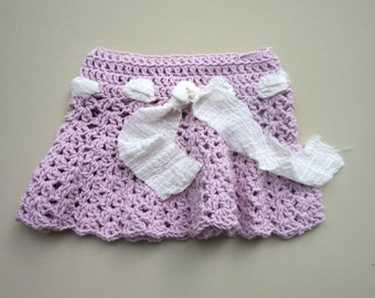 VINTAGE CROCHET SKIRT Baby Girl Pink Ivory Hand Made Crochet Scalloped Lace Lacey 1 - 2 year