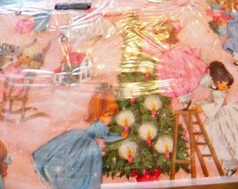 Vintage Hallmark Gift Wrap, Vintage Christmas Wrapping Paper, Holiday Gift Craft Wrap, New old stock, 2 sheets, Childrens Wrap, Pink Wrap
