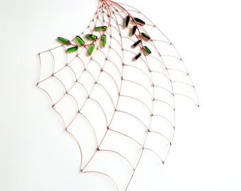 New Large One of a Kind Copper Spider Web With Fern Type Leaves, Window Hanging, Window Art, Unique Gift, Wall Hanging, Copper Wire Art