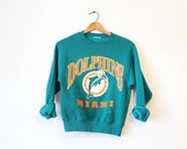 Vintage Kids Miami Florida Dolphins Screen Print Football Sweatshirt