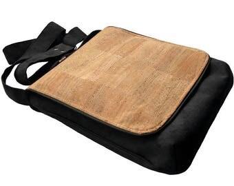 Crossbody Bag with Cork Flap, OOAK Messenger Bag, Eco Suede Vegan Bag, Flap Cover Bag, Adjustable Strap