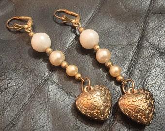 "Valentine Heart Earrings / Dangles / Beads / Hearts / 3.25"""