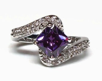 10K White GF Amethyst CZ Ring with Diamond Accents in Overpass Design Marked 925 Silver - Vintage 80's Cubic Zirconia Costume Jewelry