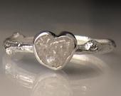 Heart Shaped Raw Diamond Twig Ring, Rough Diamond Engagement Ring
