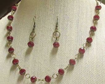 "20"" Ruby Red Crystal and Antique Bronze Necklace Set"