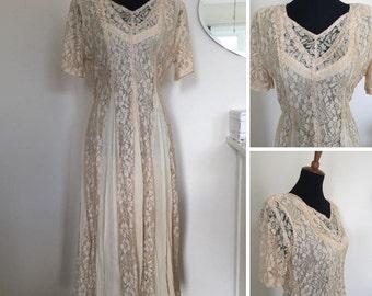 Vintage ivory lace dress / titanic era style/wedding boho /champagne / size large /1940s 1980s /1900s style