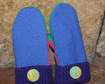 Hand Crafted Children's Mittens Created From Repurposed Recycled Upcycled Sweaters