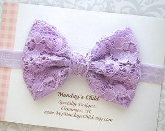 Lace Bow Headband, Lavender Bow Headband, Lavender Baby Bow, Lace Bow, Baby Bow Headband, Baby Headband, Toddler Headband, Toddler Bow