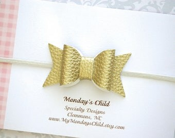 Leather Baby Bow Headband, Gold Leather Bow Headband, Leather Bows, Faux Leather Bow, Gold Baby Bow Headband, Baby Headband Toddler Headband
