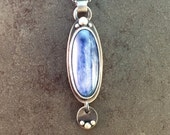 Kyanite Cabochon and Charm Sterling Silver Metalwork Necklace Pendant