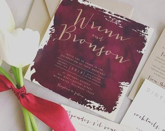 Square Bronson Wedding Invitation Suite with Belly Band - Wine Burgundy Watercolor, Champagne Gold, Ivory (colors/text customizable)