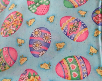 Easter Eggs and Chicks Fabric Cotton Quilting aqua