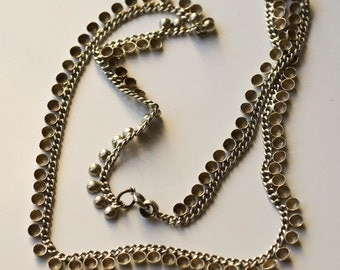 Silver Bead Necklace Vintage Silver Chain Necklace