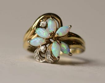 Opal Ring, Sterling Silver and Vermeil Opal Ring, Vintage, Size 8