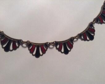 Art Deco Necklace, Red and Black, Enamel Necklace, 1920s/30s, Antique Necklace