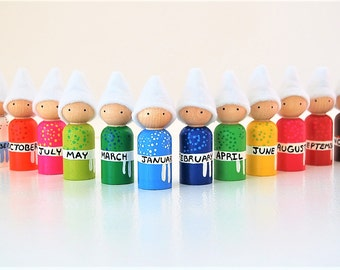 Back To School Months Of The Year Dolls -  Educational Toy - Learning Game -  Unique Gift - Peg Doll - Zooble