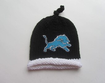 DETROIT LIONS Hand Knit Baby Hat, Detroit Lions Baby Hat, Knit Baby Hat, Baby Hat, Lions Baby Hat, Detroit Baby, Football Hat