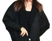 Early 1980s Black Linen/Dolman Sleeve/Oversized Vintage Jacket by Patty Woodard