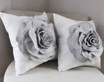 Gray Nursery Pillow Nursery Decor Accent Pillows Case Gray Pillow Covers Flower Cushion Gray Roses on White Pillow Set Gray Pillow Set of 2