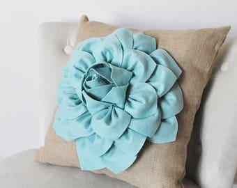 Dusty Blue Aqua Pillow Cover - Decorative Throw Pillow Cover - Powder Blue Aqua - Burlap Pillow - French Country Shabby Chic Wedding  Decor
