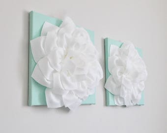 Flower Wall Hanging Set / Mint Wall Art 12 x 12 Canvas/ Wedding Wall Decor /Mint, White or Choose your own colors/ Bathroom/Bedroom/Nursery