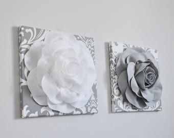 Grey and White Nursery, Rose Art, 3D Flower Print, Damask, Grey Nursery Decor, Nursery Wall Art, Floral Art, Baby Wall Decor, Grey Wall Art