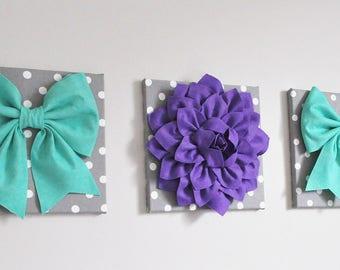 Teal Flower Art, Flower Decor, Nursery Decor, Birthday Party Decor, Purple Teal Bow Nursery, Wall Art, Office Decor,Wedding Decor, Teal Wall