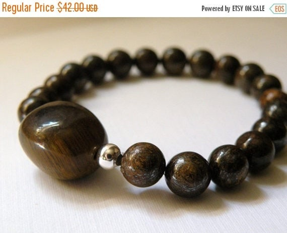 SPRING SALE Marie   -    Tiger Eye And Bronzite Beaded Bracelet    -   Handcrafted     -    Fall Collection