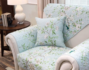 Branch Flower Sofa Cover Chinoiserie Couch Slipcover Loveseat Cover Cotton Light Blue Green Spring Bird Home Decor
