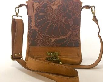 "Leather messenger bag , small, tan, caramel, Japanese lily print, ""Leeds Satchel"""