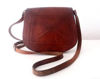 Tooled Leather Crossbody Bag