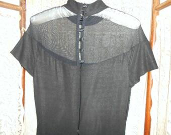 Vintage Black Illusion Dress Long Black Gown Long Black Dress High Neck Dress Vintage Gowns