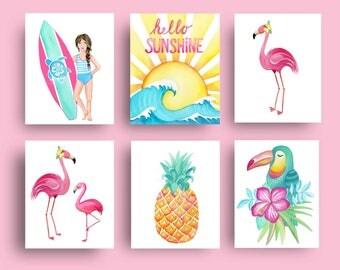 surf art prints, surfing decor, surf isle girl art, girl surfing art prints, surf bedding wall decor