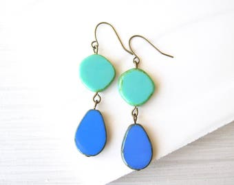 Turquoise Dangle Earrings - Czech Glass Drops, Boho Jewelry, Blue Teardrop, Statement, Bohemian, Antiqued Brass, Gold Toned, Long, Large