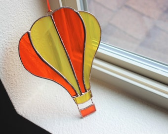 STAINED GLASS Hot Air Balloon Suncatcher, Hot Air Balloon Gift, Birthday Gift, Gift for Coworker, Stained Glass Balloon, Birthday Gift Glass